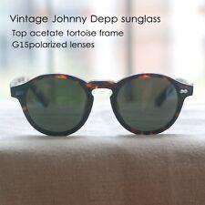 Retro Vintage Johnny Depp sunglasses round acetate tortoise G15 polarized lens