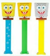 2020 SPONGEBOB PEZ  SET OF 3* BLUE PRINT, YELLOW CRYSTAL & CLEAR CRYSTAL*LOOSE*