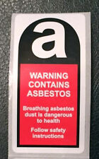 5 x Asbestos warning labels / Stickers 25mm x 50mm FREE P&P
