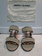 Manolo Blahnik Beige Kitten Heel Woven Leather Slides Mules Size 37.5 NEW $645