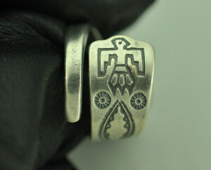 Beautiful 925 Sterling Silver US Native Thunder Bird Arrow Spoon Ring