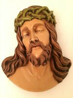 Vintage Religious Jesus Christ Crown of Thorns Wall Hanging Plaster Chalkware