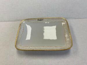 Pottery Barn Casafina Taormina Stoneware Soap Dish White and Gold