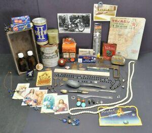 Huge Junk Drawer Lot Dealer Collector Showcase Antique Vintage Collectibles