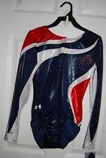 Gk Elite Gymnastics Leotard - Under Armour - Red/White/Blue Custom -Adult Medium
