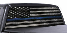 Blue Thin Line American Flag Perforated Vinyl Decal Truck Rear Window Sticker