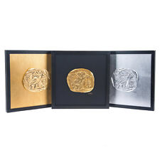 Athenian Owl Coin Set of 3 - Handmade Wall or Table Ornaments - 11.8'' (30cm)