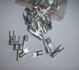 100 #8 12-10 Ga AWG Gauge Non-Insulated Spade Fork Terminal Connector