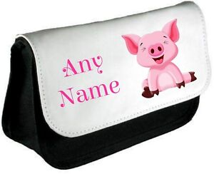 Personalised PIG/PIGLET Pencil Case/Make Up Bag *Choice of text colour*