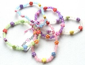 NEW Childrens Pack of 5 flower pastel coloured charm bracelet fashion jewellery