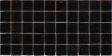 50pcs N6 Black Natura Opaque Glass Mosaic Tiles 15mmx15mmx4mm Paper faced