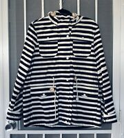Levis Strauss Womens Nautical Navy White Striped Anorak Jacket Hooded Size L