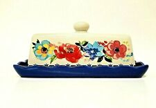 """Pioneer Woman Melody Covered Butter Dish 7"""" x 4.25"""" stoneware blue red pink"""