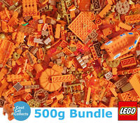 Genuine Lego 500g Bundle of Mixed Orange / Gold Bricks Joblot + Free Minifigure