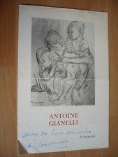 ANTOINE GIANELLI INVITATION DEDICACEE 1958 AUTOGRAPHE