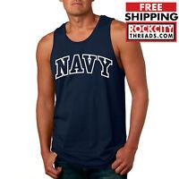 NAVY ARCHED TANKTOP Military Shirt Blend Seal US U.S.NAVY USNAVY USA USNA Logo