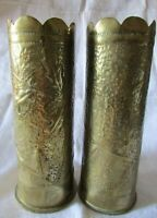 Antique French Pair Embossed WW1 DE CROUY European Trench Art Shell cases 1917