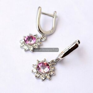 Natural Pink Sapphire Gemstone 925 Solid Silver Women Designer Dangle Earrings