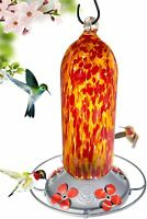 Grateful Gnome - Hummingbird Feeder - Hand Blown Glass - Fiery Bell Tower