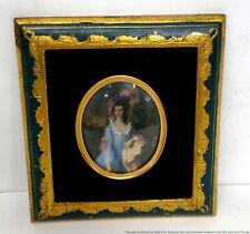 Vintage After Gainsborough Painted Georgian Lady Subject Miniature Gilt Frame