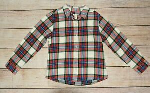 NWT LANDS' END BOYS 5 RED BLUE BLACK PLAID FLANNEL BUTTON DOWN HOLIDAY SHIRT