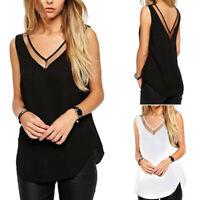Women V-Neck Vest Top Summer Loose Chiffon Sleeveless Tank T-Shirt Casual Blouse