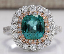 3.26 Carat Natural Emerald 14K Two Tone Gold Diamond Ring