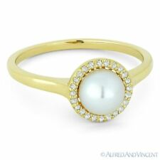 Freshwater Pearl & 0.08ct Round Cut Diamond Halo 14k Yellow Gold Right-Hand Ring