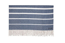 FOXFORD 100% LAMBSWOOL SOFA THROW BLANKET RUG BLUE & WHITE HERRINGBONE 3662/C3