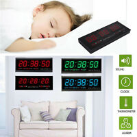 Digital Large Big Jumbo LED Wall Desk alarm Clock With Calendar Temperature LS