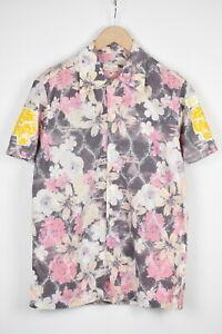 REPLAY M4186 Men's LARGE Short Sleeve Flower Print Tiger Purple Shirt 39775_ES