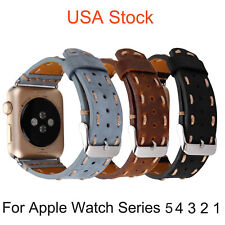 USA Retro Watch Band for Apple Watch Series 5 4 3 2 1 Strap Genuine Leather Belt