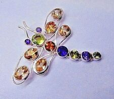 Amethyst, Citrine and Peridot Pendant set in Sterling Silver.