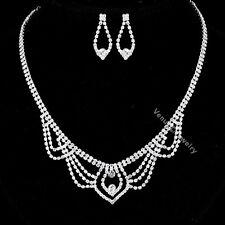 Bridal Wedding Jewelry Prom Rhinestone Crystal Necklace Earrings Set N319