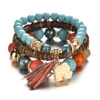3PCS/Set Bohemia Multilayer Elephant Tassel Beads Charm Bracelet Jewelry MC DS