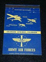 WW2 Matchbook Cover 3.5 x 5 Army Air Forces Colorado Springs Postcard Nice Cond.