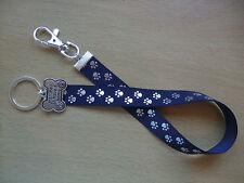 Hecho A Mano Perro Rescue Bag Key Finder encanto Cinta Larga fob Llavero Azul Plata Paw