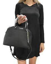 MICHAEL KORS EMMY LARGE DOME SATCHEL SAFFIANO LEATHER BAG BLACK