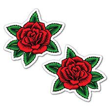 2 x Red Rose Flower Sticker Tattoo Art Sailor  #6969LS