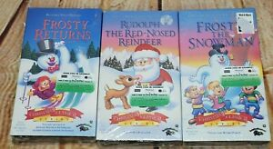 3 New Christmas Classic Series VHS TAPES - Frosty The Snowman,Returns,Rudolph