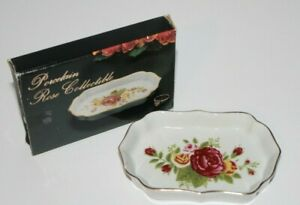 """Porcelain Rose Collectible Trinket Ring Gold Trim Hand Painted Dish 4.5"""""""