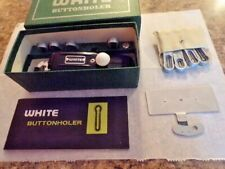 Vintage White Sewing Machine Buttonholer, Rotary Attachments, Manual, very NICE