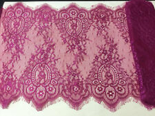 "12.5"" Wide Raspberry Burgundy Red Eyelash Lace Fabric for Lingerie Table Runners"