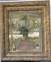 Antique Gold Gesso Stacked Victorian Frame With 1902 Marriage Certificate, 26x22