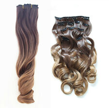 Clip In Set 6 Pcs Hairpiece Synthetic Hair Extensions Long Wavy Curly Ombre 8/27