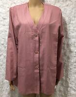 Alfred Dunner Pink Collarless Blazer Women's Sz 14 Suit Jacket Button Down