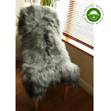 BEST PRICE NOW!!! GENUINE ICELANDIC SHEEPSKIN Rug, GREY with HIGHLIGHTS, 120cm!