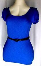 Womens Size L Top Royal Blue Black Vinyl Belt Derek Heart Rayon Stretch Knit EUC
