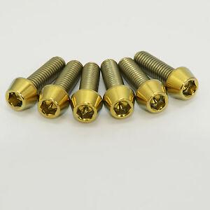 GOLD Titanium Stem Bolts- Set of six. Fit Road or MTB bars 6 x M5 16mm length.