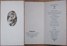 1938 French Wedding Menu: Man & Woman/ Picnic, Wine - Moulin a Vent/Graves